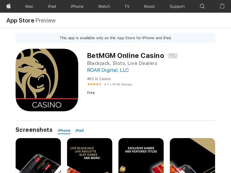 BetMGM Casino - US - INCENT - iOS APP [STATE TARGETED]