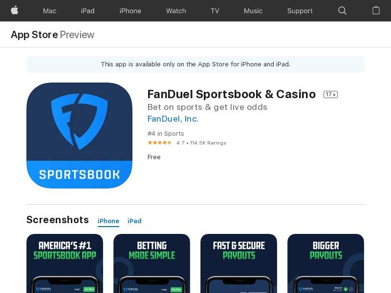 FanDuel Sportsbook CPI (iPhone 13.0+, iPad 13.0+) US - Non incent