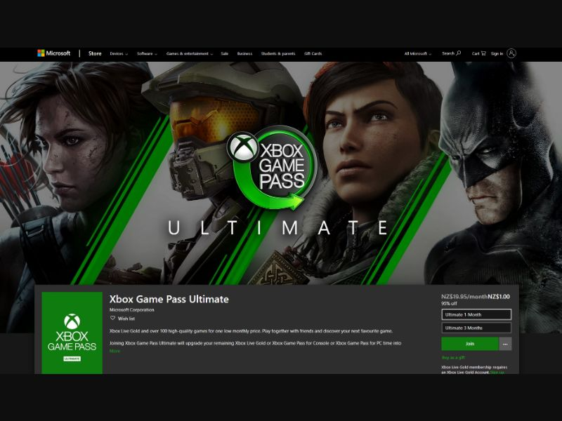 Xbox Game Pass Ultimate - $1NZ Promo | NZ