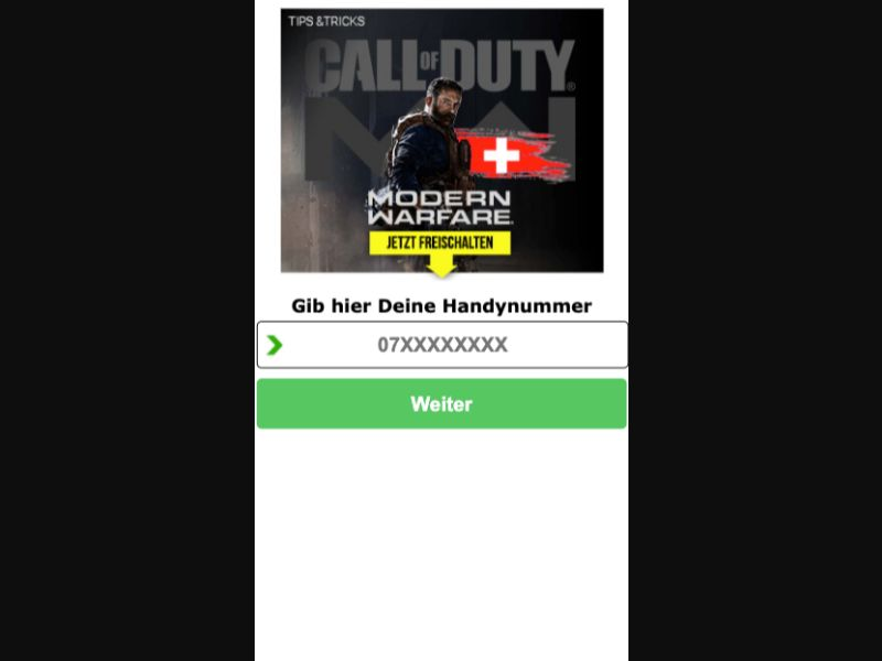 Call of Duty - SMS Flow - CH - Online Games - Mobile