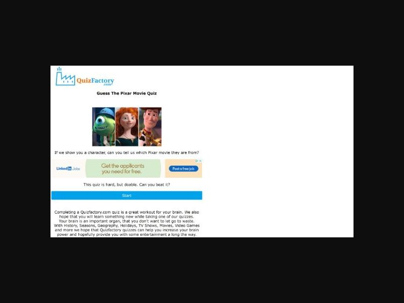 Pixar Movie Quiz - US