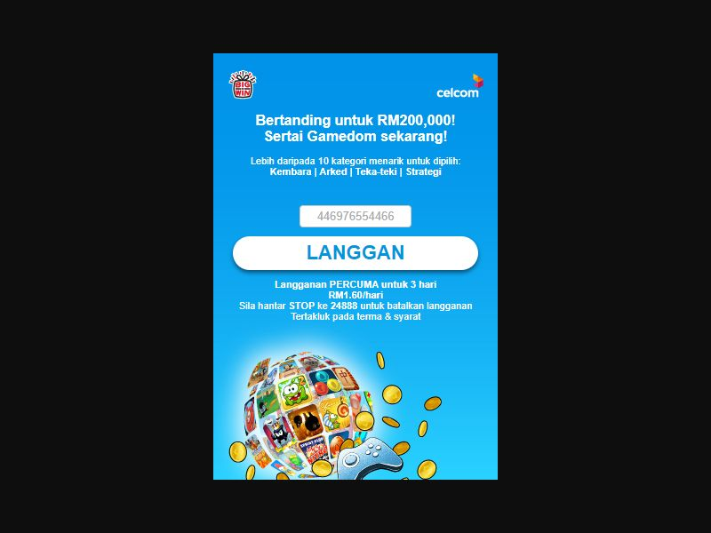 4450   MY   Pin submit   Celcom   Mainstream   Games