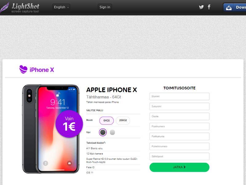 iPhone X (Sweepstake) (CC Trial) - Finland [FI]