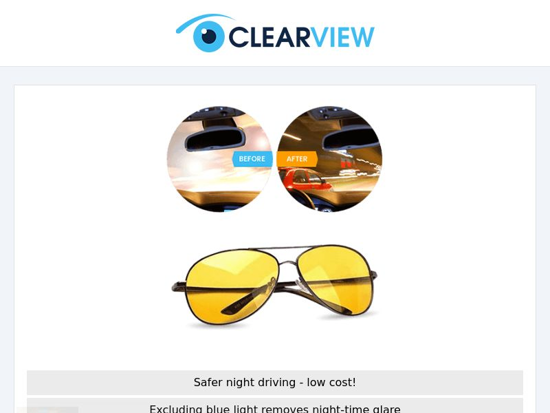 ClearView Glasses - Drive Safer (US/Multi Geo) - Twice Monthly NET7 Advertiser