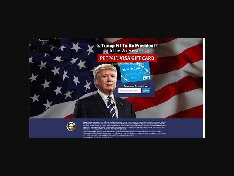 Is Trump Fit to be President? Visa Giftcard - One Field
