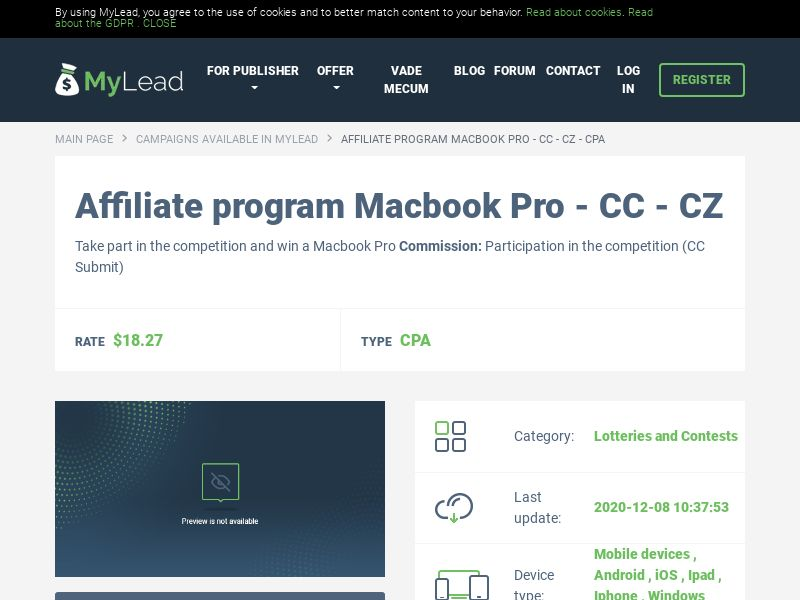 Macbook Pro - CC - CZ (CZ), [CPA], Lotteries and Contests, Credit Card Submit, paypal, survey, gift, gift card, free, amazon