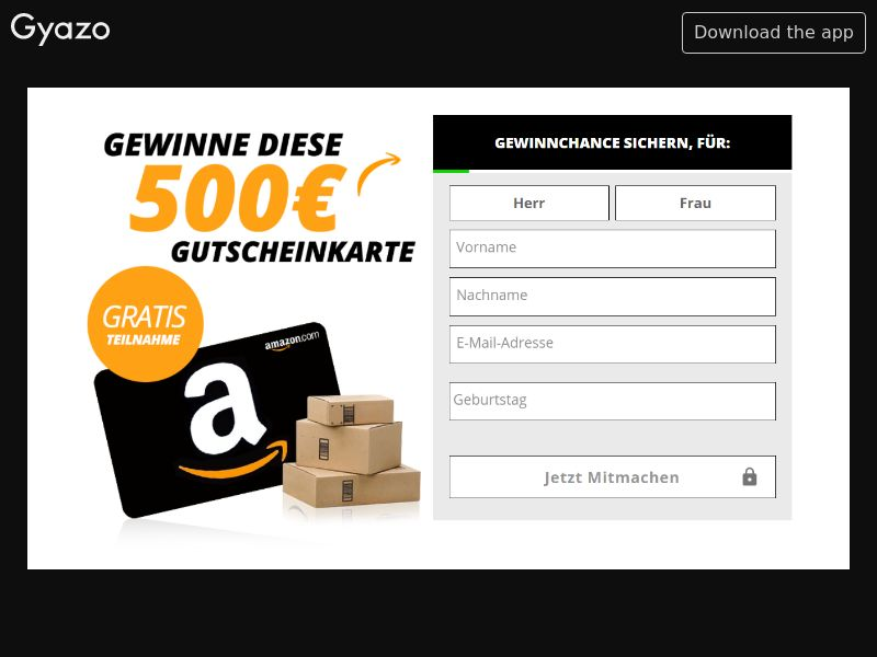 Gewinne Get 500€ Amazon Voucher (DE) (CPL) (Personal Approval)