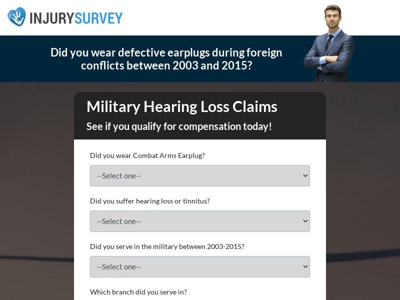 InjurySurvey - Earplugs (No Weekend Drops) (US) (CPL) (Personal Approval)