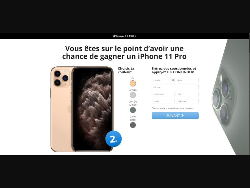 iPhone 11 Pro - Sweepstakes & Surveys - Trial - [FR]