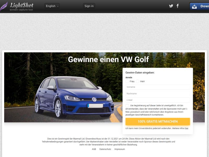 Myemail - Win a VW Golf (DE, CH, AT) (CPL) (Personal Approval)