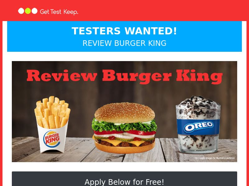 OfferX - GetTestKeep Review a Burger King (Display Only) [UK]