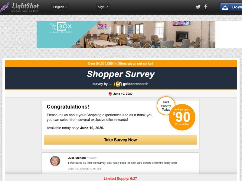Shopper Survey New (US) (CPS) (Personal Approval)