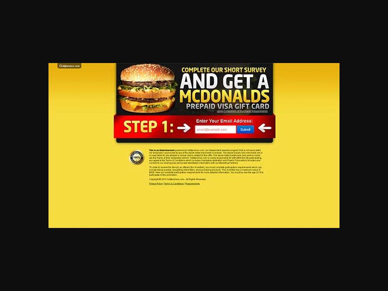 Get a McDonalds Gift Card - One Field