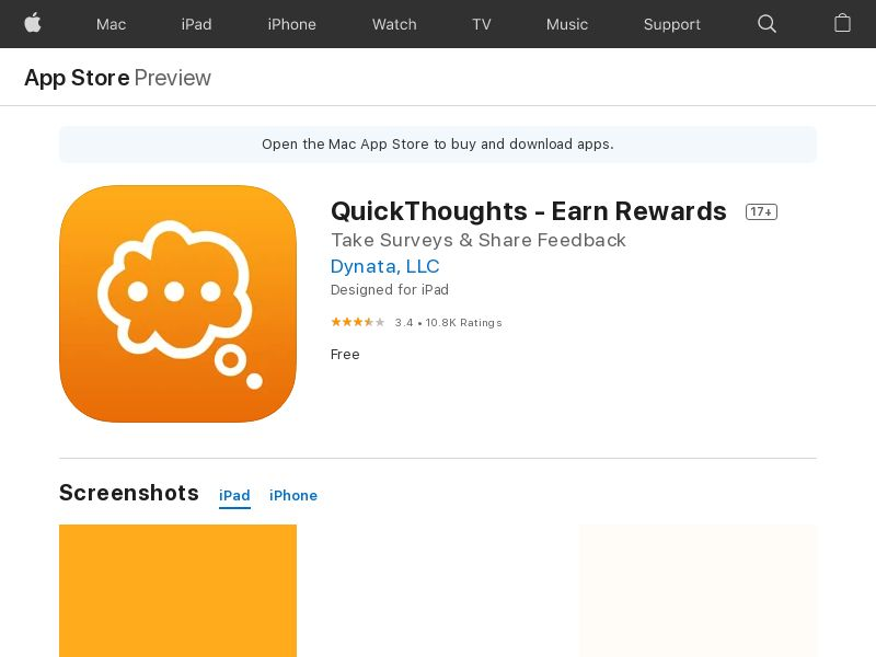 QuickThoughts Earn-102370-iOS-ES (CPE=complete survey)
