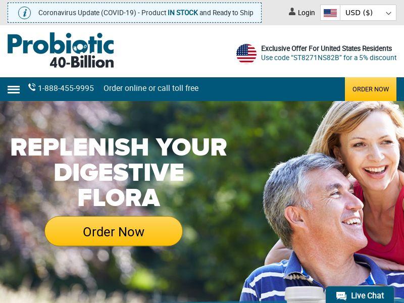 Probiotic 40-Billion | Natural Gut & Digestive Health Supplement