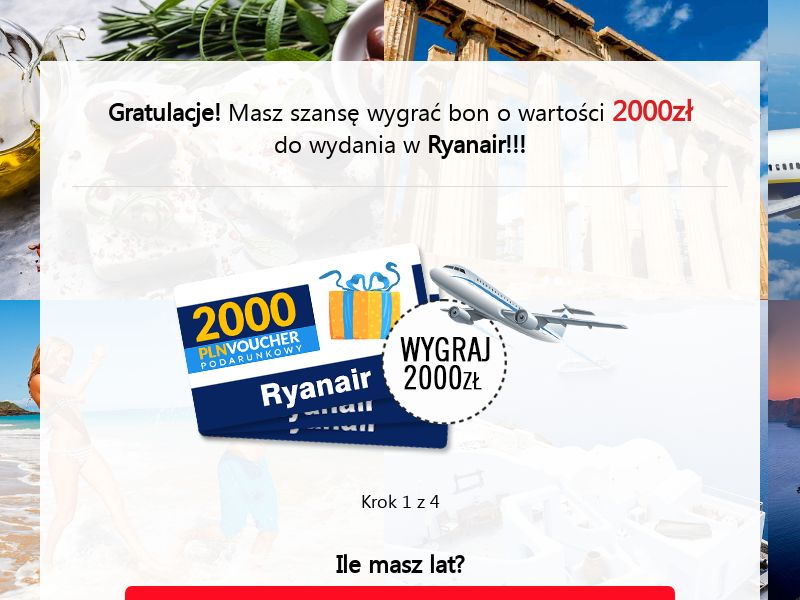 Ryanair - voucher 2000 zł (PL), [CPL], Lotteries and Contests, Transport and Travel, Tours, Transport, Survey, paypal, survey, gift, gift card, free, amazon, holiday