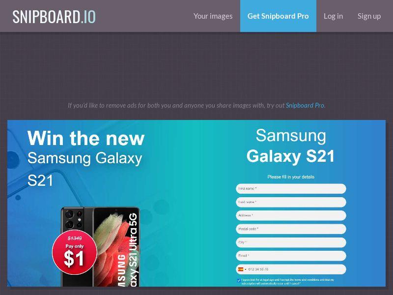 Win Samsung S21 ССSubmit US CA AU NZ 20$