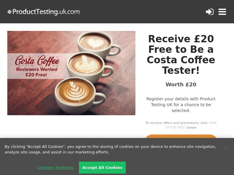 Email Submit - £20 Coffee Tester - SOI (UK)