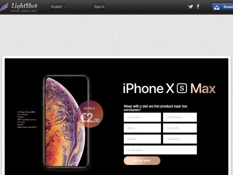 winlotsofthings iPhone Xs MAX (Sweepstake) (CC Trial) - Belgium (BEnl) [BE]