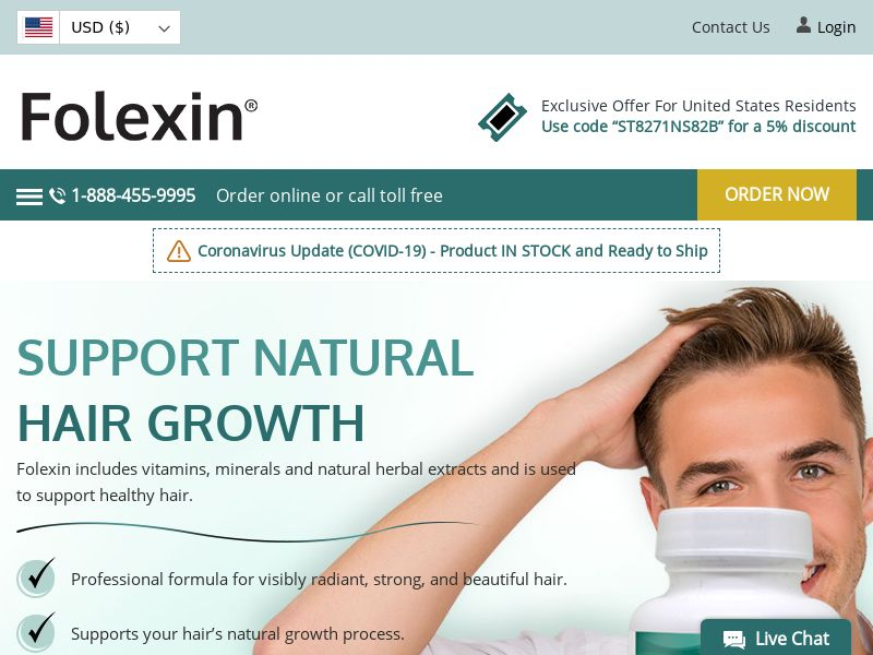 Folexin | Natural Hair Growth Supplement for Thick, Healthy & Strong Hair