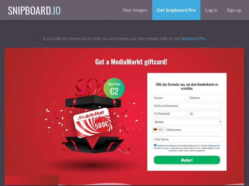 37716 - DE - AllDaysGiftsClub - €500 MediaMarkt Gift Card EXCLUSIVE - CC submit