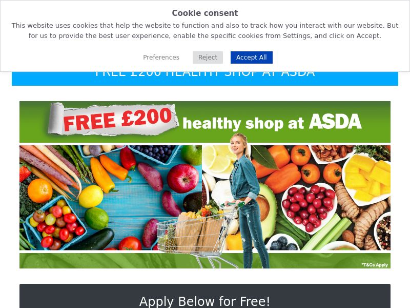 Free £200 at Asda - UK (GB), [CPL], Lotteries and Contests, Single Opt-In, paypal, survey, gift, gift card, free, amazon