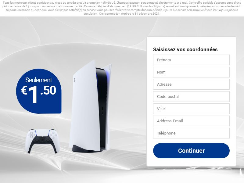 Playstation 5 - FR (FR), [CPA], Lotteries and Contests, Credit Card Submit, paypal, survey, gift, gift card, free, amazon