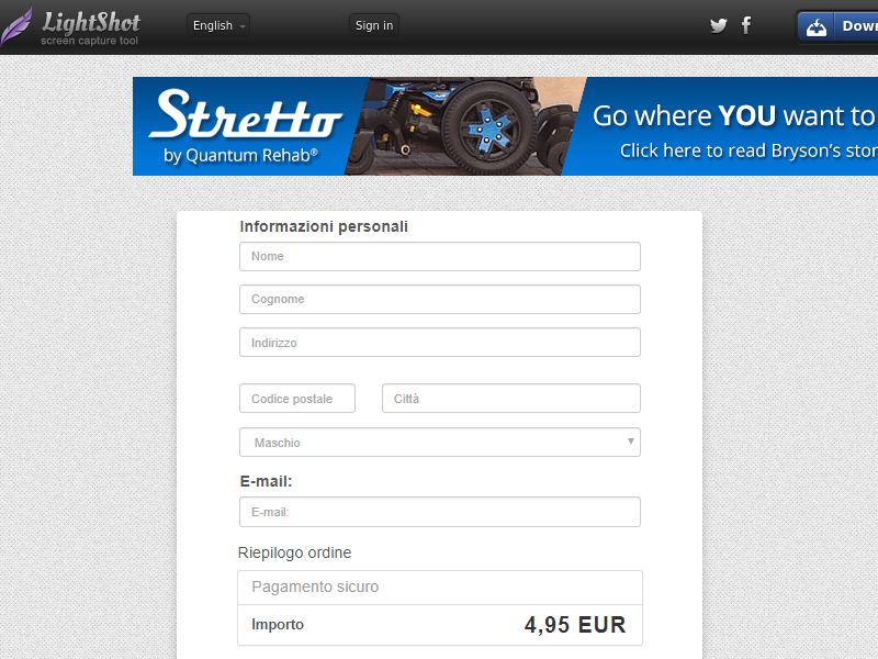 Giordano Membership Sign Up Page/Payment Page with Prefills (Sweepstakes) (CC Trial) - Italy
