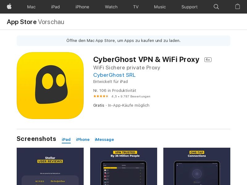 CyberGhost iPhone - INCENT - DE