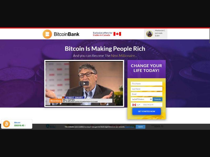 Bitcoin Bank - $250 min CTC - VSL - Crypto - SS - [50 GEOs]