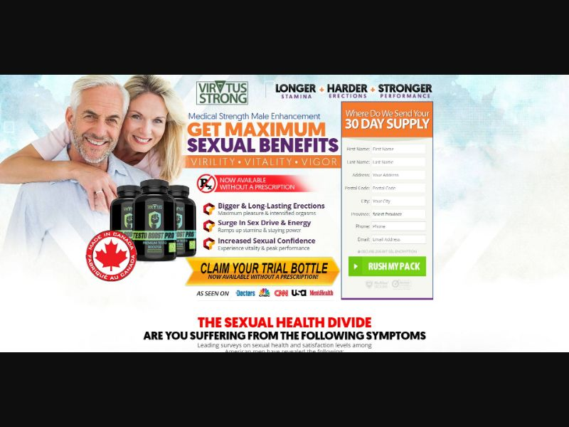 Virtus Testo Boost Pro - Male Enhancement - Trial - [CA] - with 1-Click Upsell [Step1 $28.90 / Upsell $28.90]