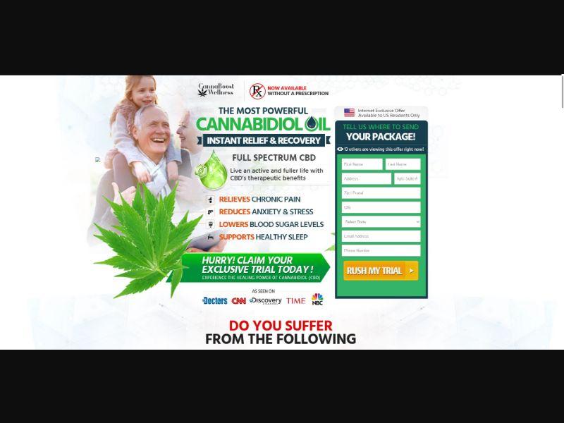 CannaBoost Wellness Full Spectrum Hemp Oil - CBD - Trial - [US]