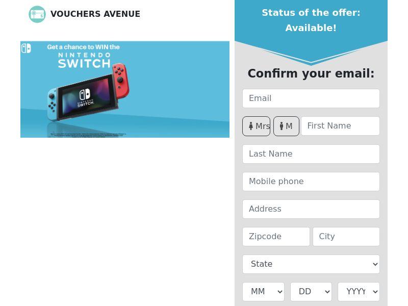 Vouchers Avenue - Nintendo Switch - CPL - US [EXCLUSIVE]