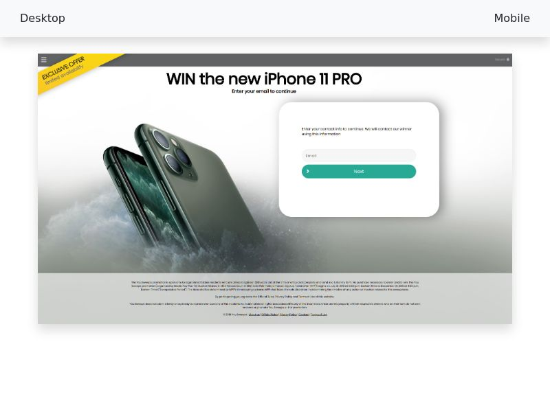 Sweepstake Win the new iPhone 11 PRO - CPL SOI - All devices - [US]