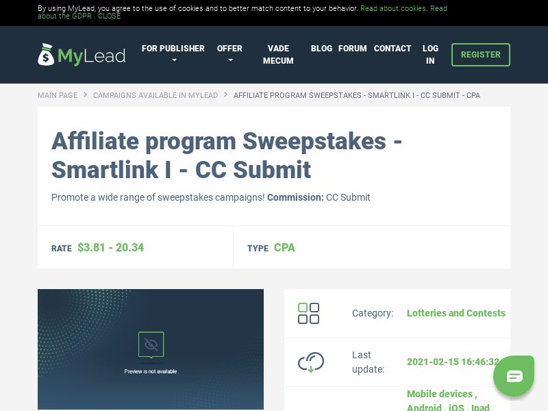 Sweepstakes - Smartlink I - CC Submit (MultiGeo), [CPA], Lotteries and Contests, Credit Card Submit, paypal, survey, gift, gift card, free, amazon