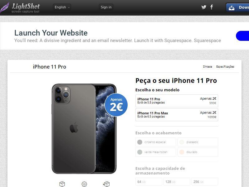 Smarttestlive iPhone 11 Pro Color Choose V2 (1 Pager) (Sweepstakes) (CC Trial) - Portugal [PT]