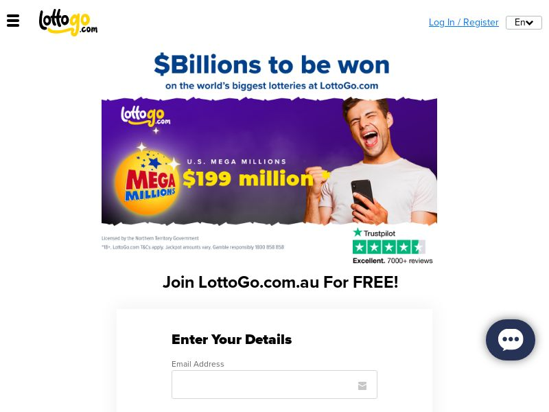 LottoGo - Mega Millions 10 Tickets For $2 [AU]