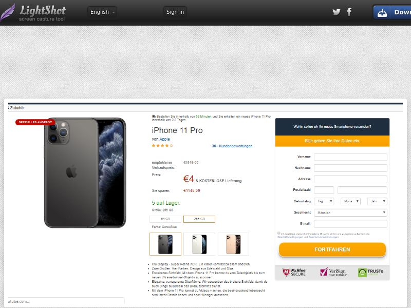 trophaeenjaege iPhone 11 Pro (Amazon) (Sweepstake) (CC Trial) - Germany [DE]