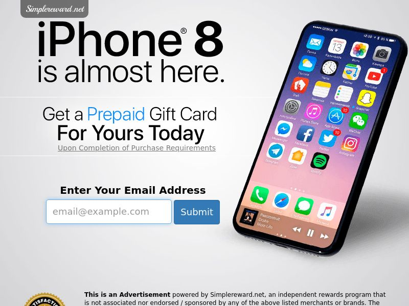 Get An iPhone 8 - Email Submit