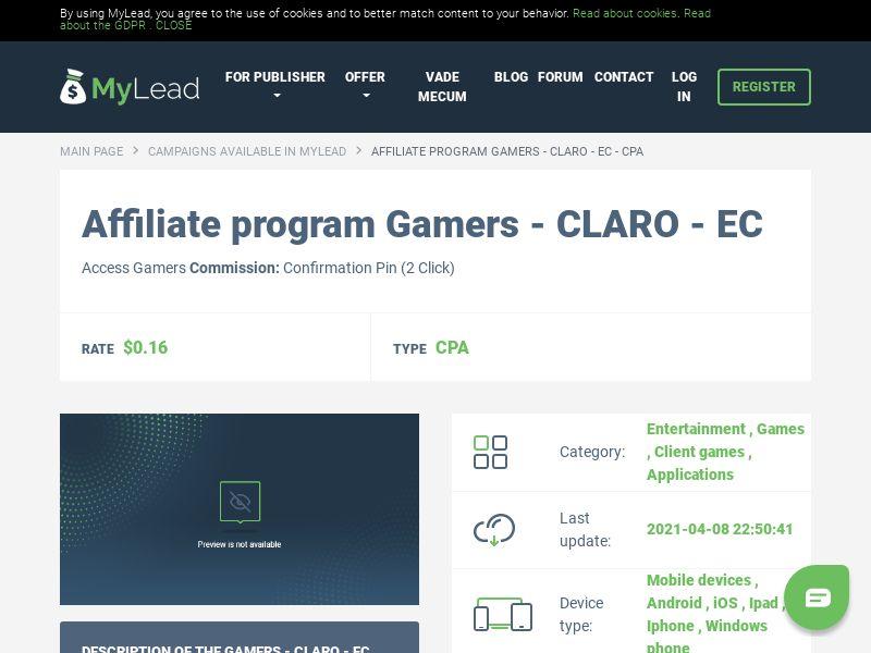 Gamers - CLARO - EC (EC), [CPA]