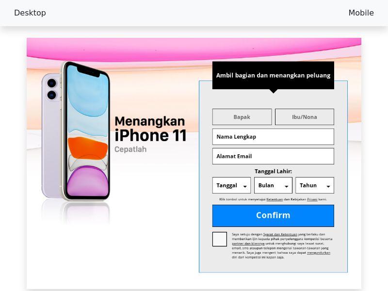 Sweepstake Win iPhone 11 - SOI CPL - [ID]