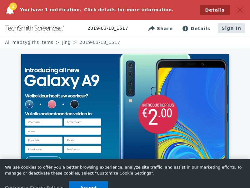 winlotsofthings Samsung Galaxy A9 (Sweepstake) (CC Trial) - Netherlands [NL]