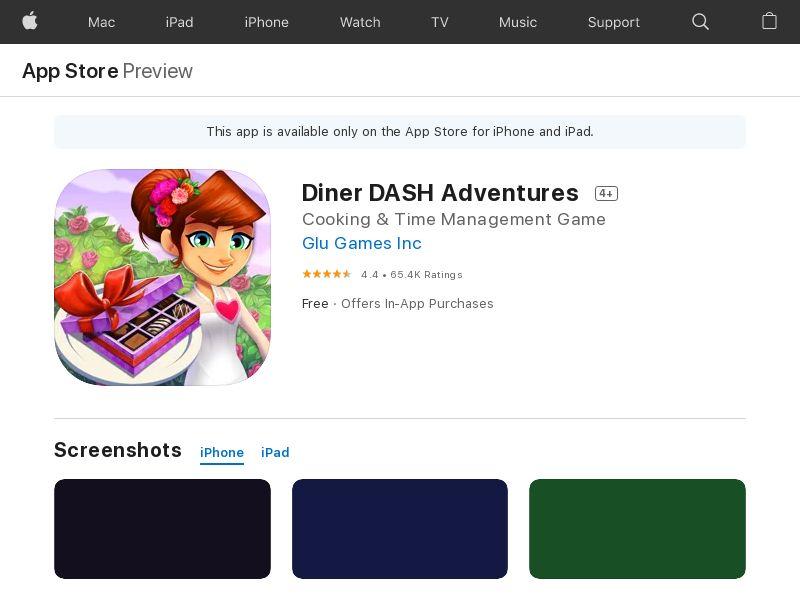 DinerDash iOS US IDFA Appname