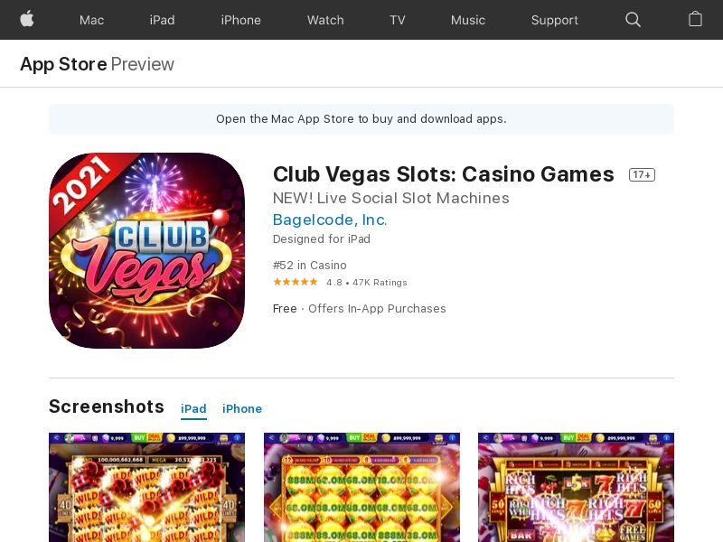 Club Vegas 2021: New Slots Games & Casino bonuses - iOS (US) (CPE) (Incent) (Personal Approval)