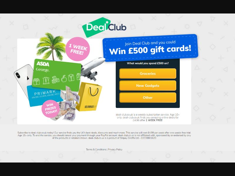 Dealcloud Win £500 Gift Cards (UK) (PIN) (Personal Approval)