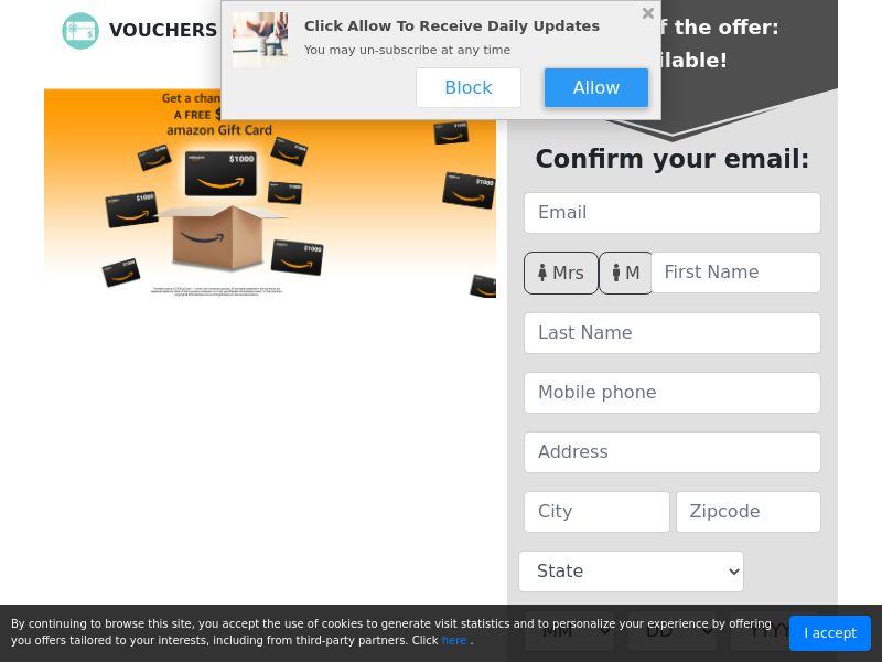 US - Vouchers Avenue - $1000 Amazon Gift Card 2