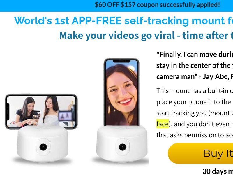 YuuTrack - Face Following Phone Mount Higher Price - CPA - [US/CA/AU/UK]