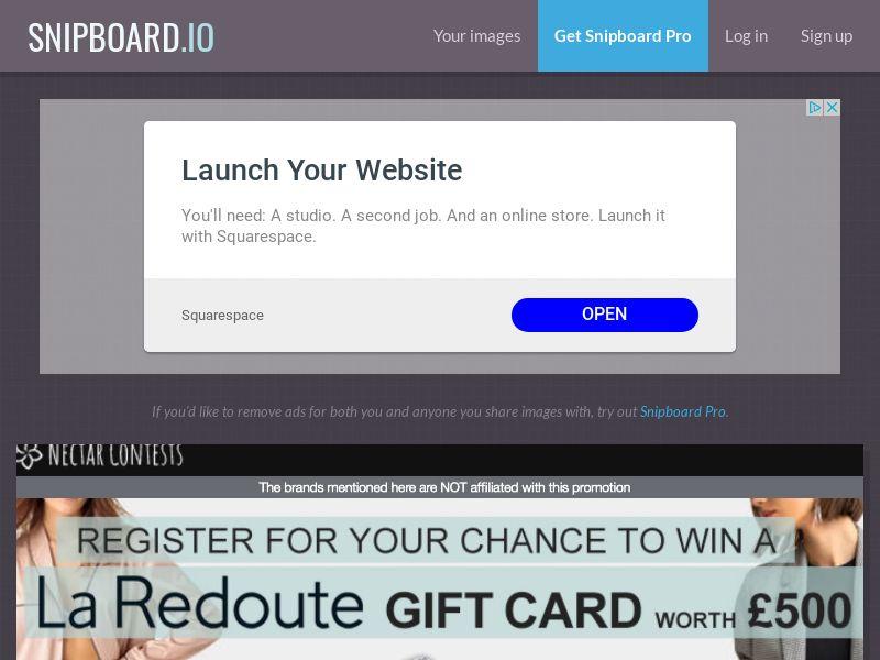 NectarContests - La Redoute Giftcard $500 UK - SOI