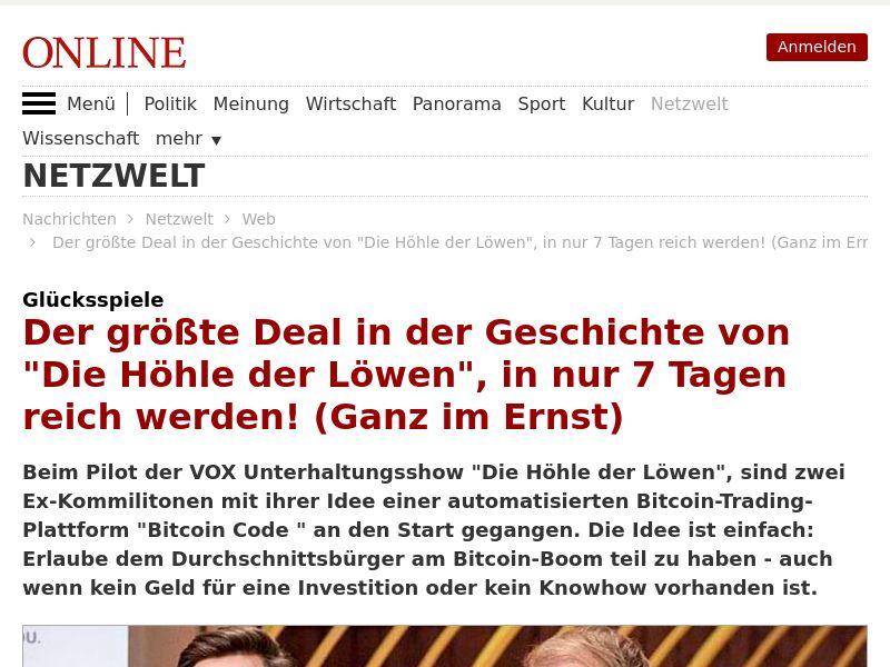 Bitcoin Code - 250 Min Deposit - German Presell (Social,Email,Native,Banner) [INTL - No US] - CPA
