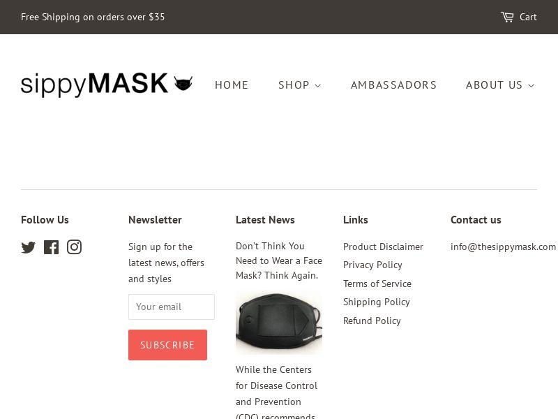 SippyMask - Single Mask   US